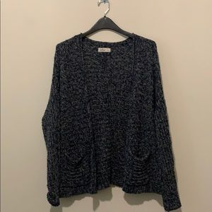 Blue long sleeve cardigan with pockets